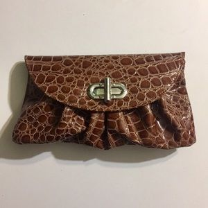 Vintage Brown Crocodile Clutch